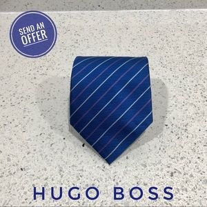 Hugo Boss Silk Striped Designer Tie GUC Blue